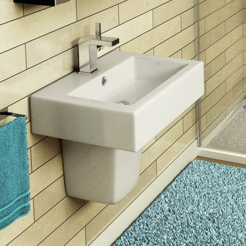 Pura Bloque 500mm Rectangular Countertop Basin with One Tap Hole - GWP Bathrooms