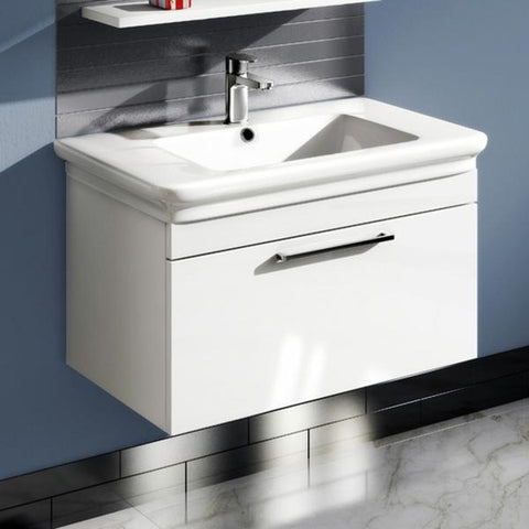 Platto 800mm  Single Drawer Wall Mounted Vanity Unit & Basin - GWP Bathrooms