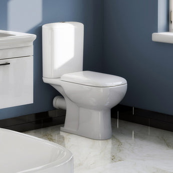Platto Close Coupled Toilet & Cistern Inc Soft Close Seat - GWP Bathrooms