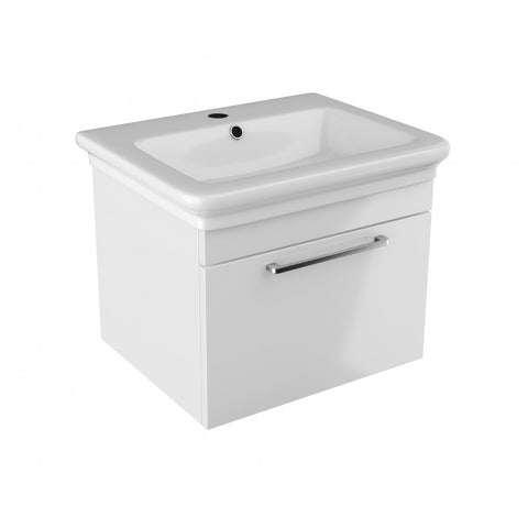Platto 600mm Single Drawer Wall Mounted Vanity Unit & Basin - GWP Bathrooms