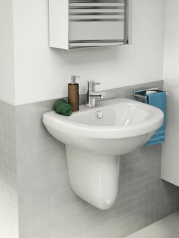 Ivo compact 620mm One Tap Hole Basin & Semi Pedestal - GWP Bathrooms