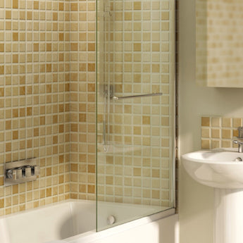Wave Left/Right-Hand Hinged Shower Bath Screen 1455mm  - GWP Bathrooms