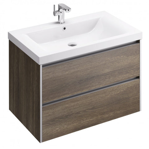 Xcite 800mm Double Drawer Wall Mounted Vanity Unit & Basin - GWP Bathrooms