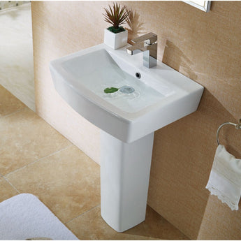 Pura Bloque 550mm  One Tap Hole Basin & Full Pedestal - GWP Bathrooms