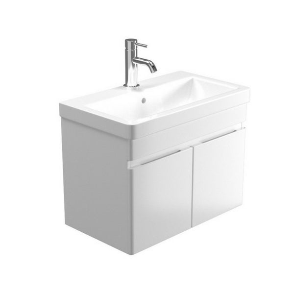 Pura Air 600mm 2 Door Wall Mounted Vanity Unit & Basin – Gloss White/Alpine Carbon - GWP Bathrooms