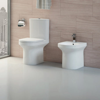 Alma Rimless Close Coupled Open Back Toilet & Cistern Inc Optional Soft Close Seat - GWP Bathrooms