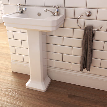 Wyndham Traditional 515mm Two Tap Hole Cloakroom Basin & Full Pedestal - GWP Bathrooms