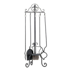 Speckled Fleur-de-lis Fireplace Tool Set