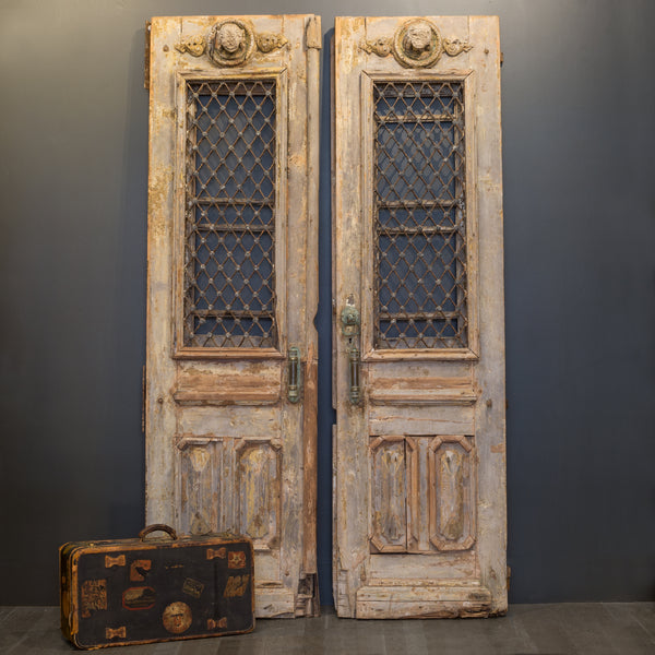Antique 17th c. Wood and Bronze Italian Doors c. 1600