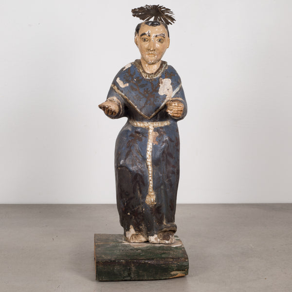 19th c. Polychromed Mexican Carved Wood Santo c.1800-1850