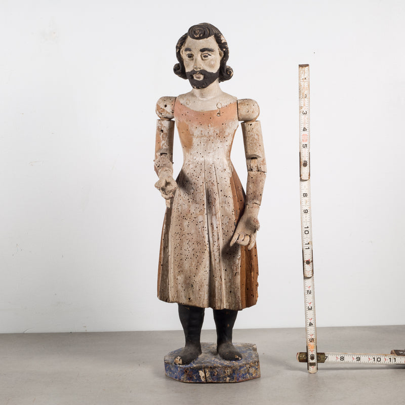 19th c. Polychromed Mexican Carved Wooden Santo c.1800s