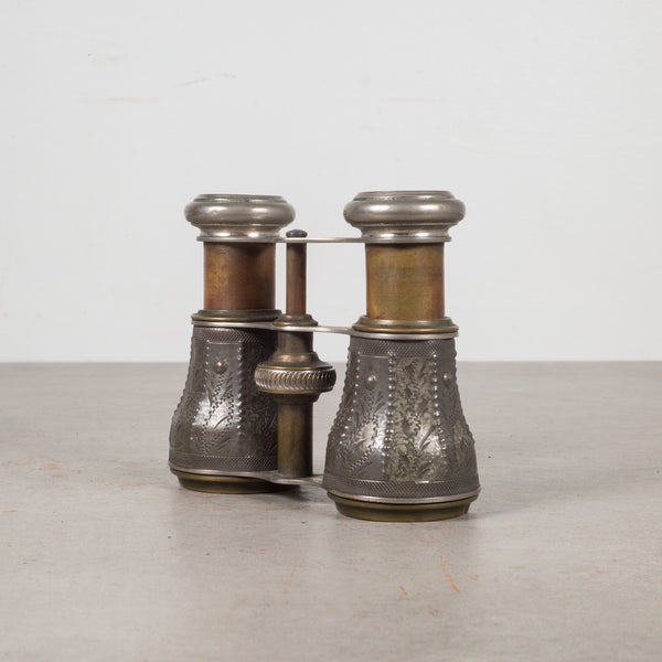 19th c. Embossed Pewter and Brass Opera Binoculars c.1880s