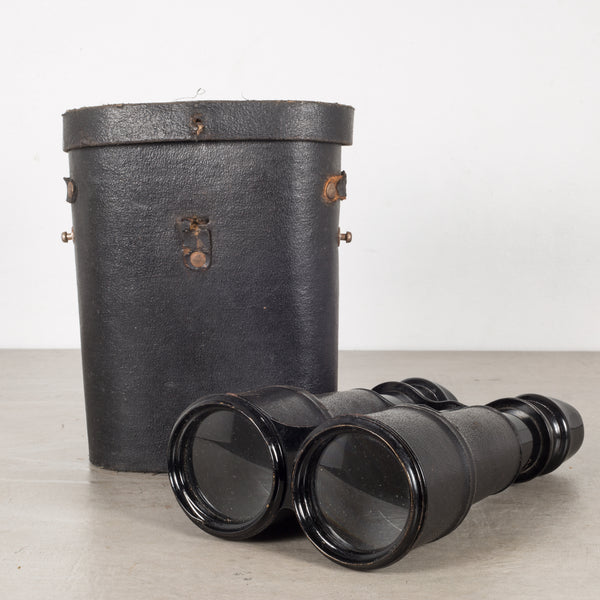 19th c. Leather Wrapped Sportier Paris Day Night Binoculars c.1880s