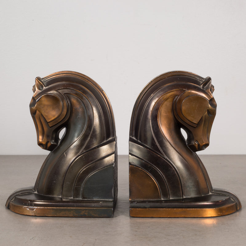 Art Deco Bronze-Plated Horse Bookends, c.1930