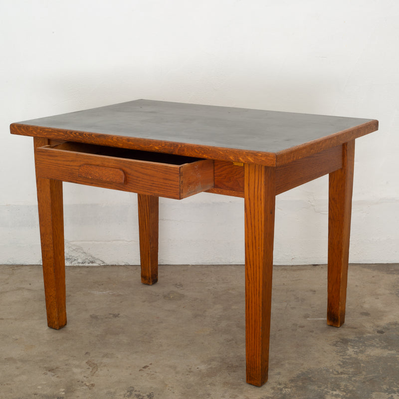 "Antique Oak ""GunnLino Top"" Desk/Dining Table c.1920"