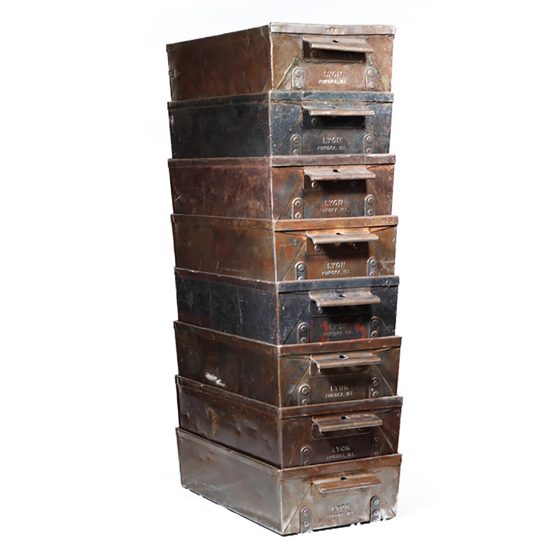 Antique Industrial Factory Lyon Steel Drawers c.1930
