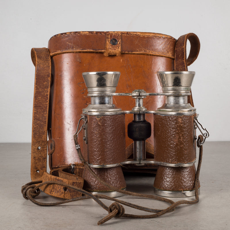 World War ll Era Leather and Chrome Binoculars & Case c.1940