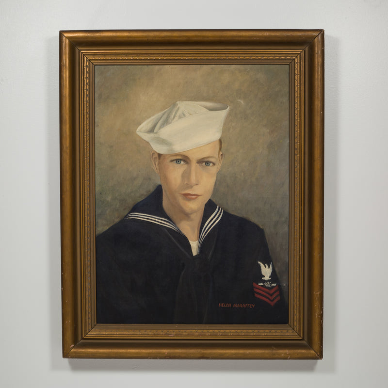 "Acrylic on Canvas Portrait ""First Class Petty Officer"" by Helen Mahaffey C.1942-1959"