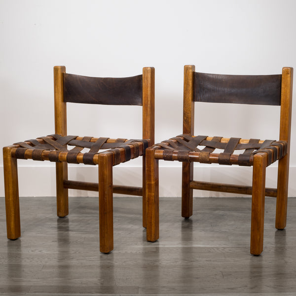 Pair of American Studio Craftsman Leather Chairs c.1950