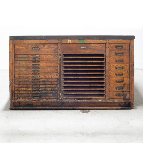 Antique Hamilton Industrial Wood and Iron Printer's Typeset Workbench c.1920