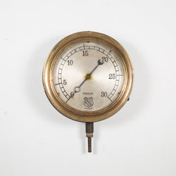 Early 20th c. Brass and Steel Pressure Gauge c. 1920