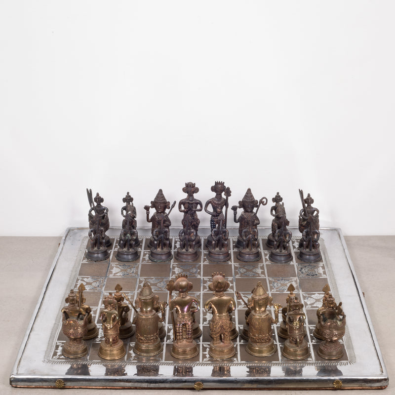 Mid-century Bronze and Brass Inlay Indian Chess Set c.1960