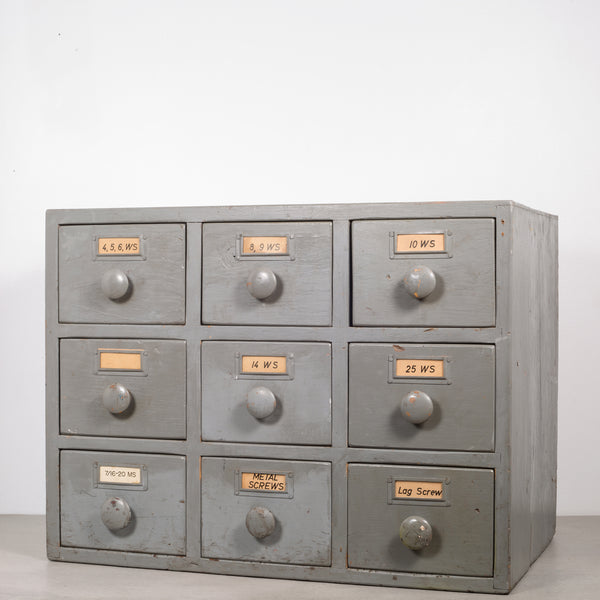 Machinist's Industrial 9 Drawer Wooden Cabinet c.1930