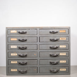 Machinist's Industrial 12 Drawer Wooden Cabinet c.1930