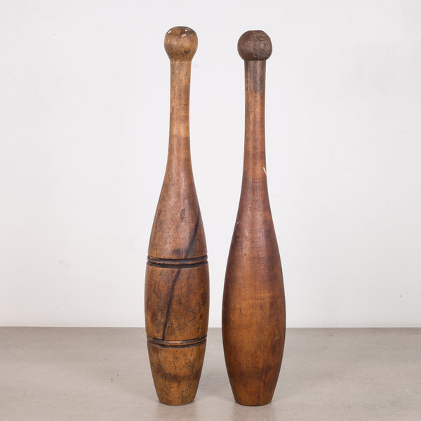 Pair of Antique Wooden Juggling Pins c.1920