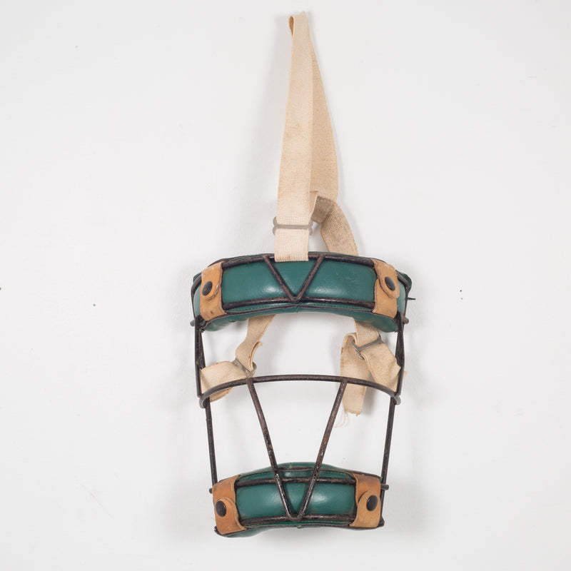Steel and Green Leather Catcher's Mask c.1940