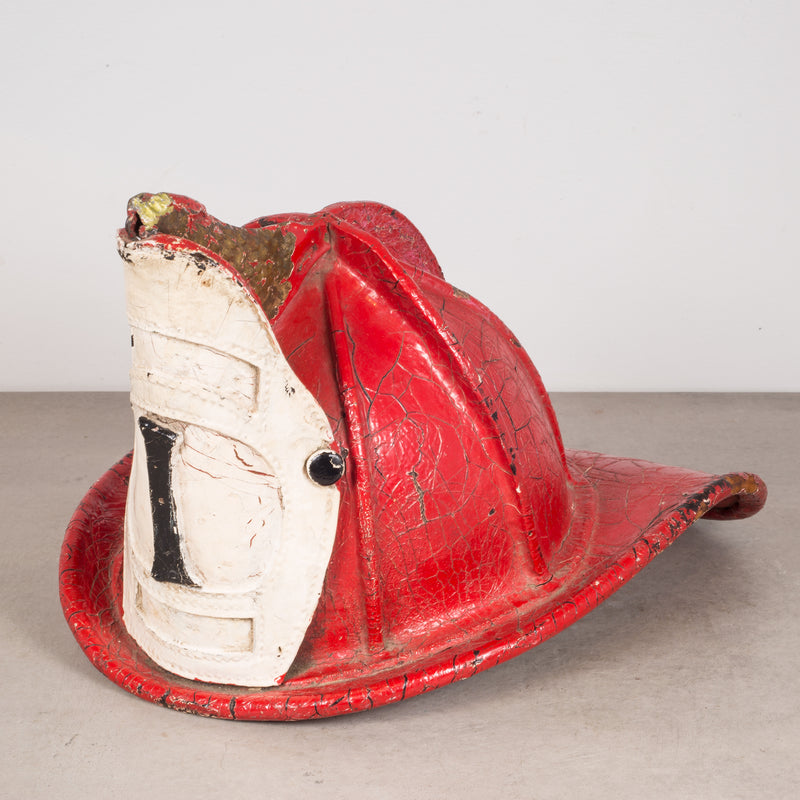 19th c. Red Leather Fireman's Helmet with High Eagle c.1800s