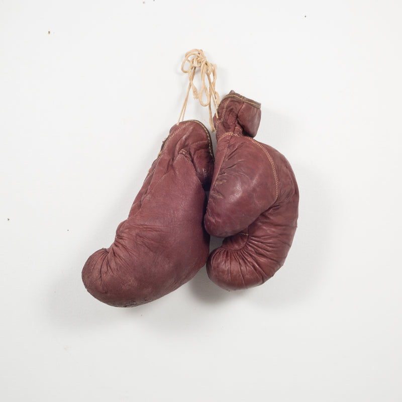 Pair of Vintage Horse Hair and Leather Boxing Gloves c.1940