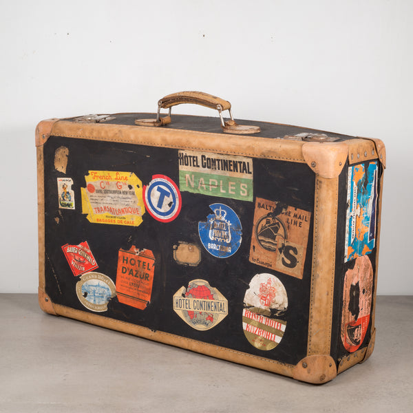 Antique Luggage with Original Travel Stickers c.1920