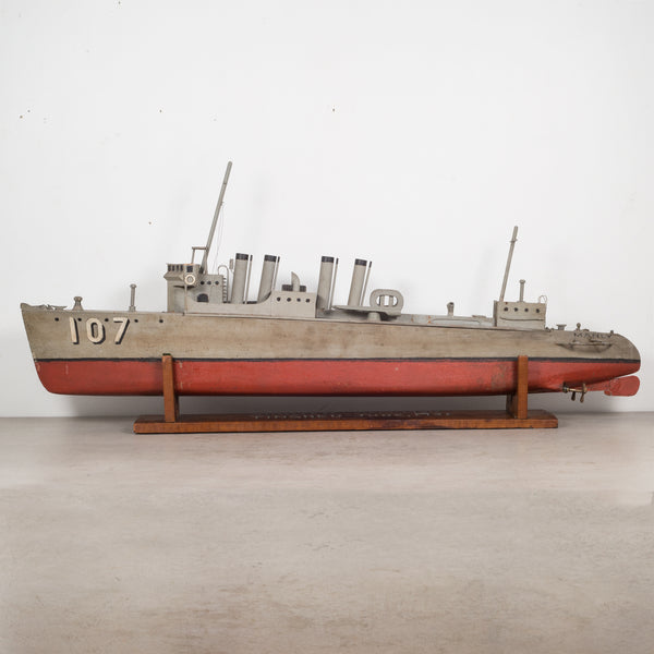 Hand Made Motorized Wooden Ship Model c.1930