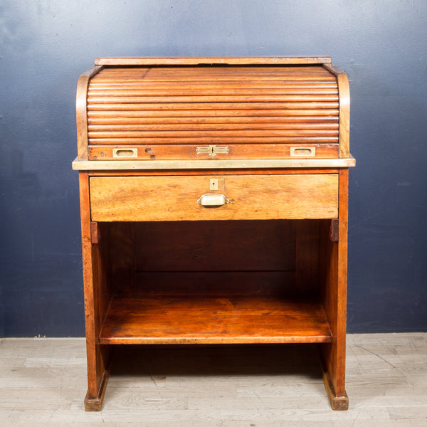 Antique Oak and Brass Rolltop Desk c.1930