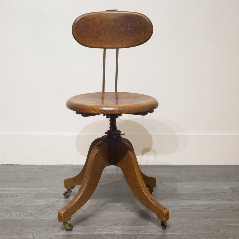 Adjustable Solid Oak Swivel Desk Chair c.1930