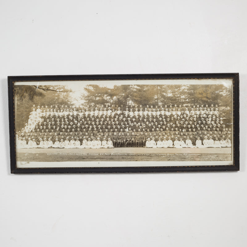 Early 20th c. Officers and Nurses Panoramic Photo c.1918