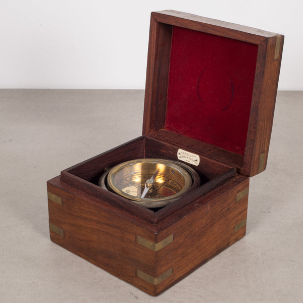Rosewood Boxed Gimbaled Compass c.1940