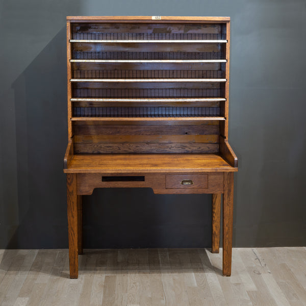 Antique Solid Oak Postal Sorting Desk c.1939