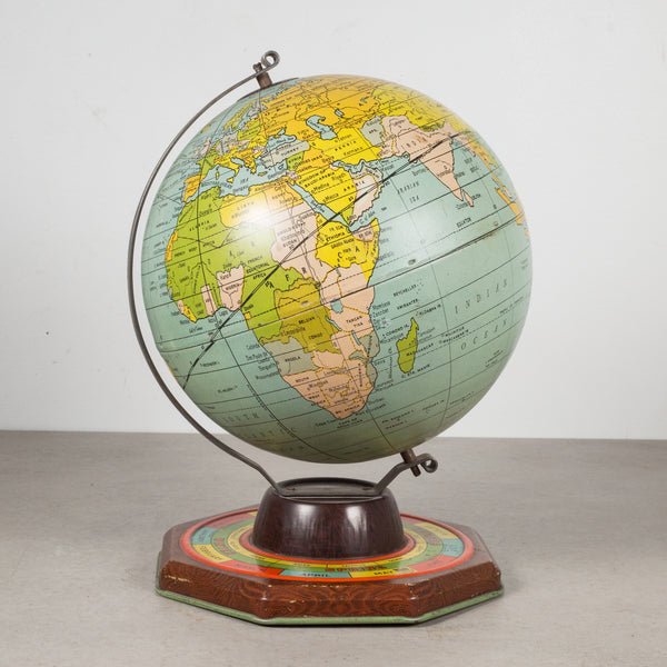 Antique Metal Game Globe by J. Chein, circa 1930