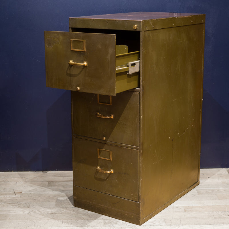 Library Bureau Sole Makers Army Green Steel and Brass File Cabinets c.1940