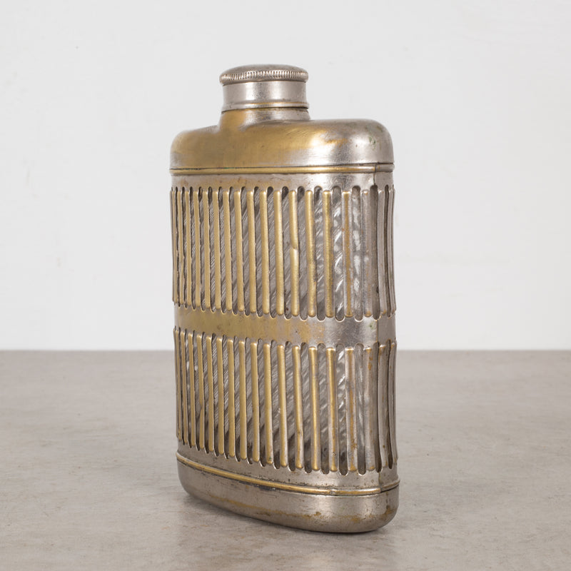 Brass Plated Caged Glass Flask c.1920