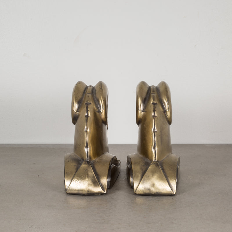 Art Deco Ram's Head Bookends by Cornell Foundry c.1930