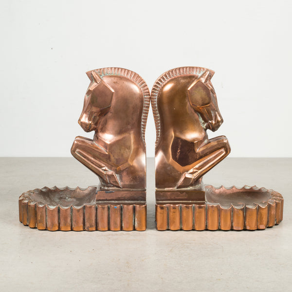 Art Deco Bronze & Copper Plated Trojan Horse Bookends/Ashtray c.1930