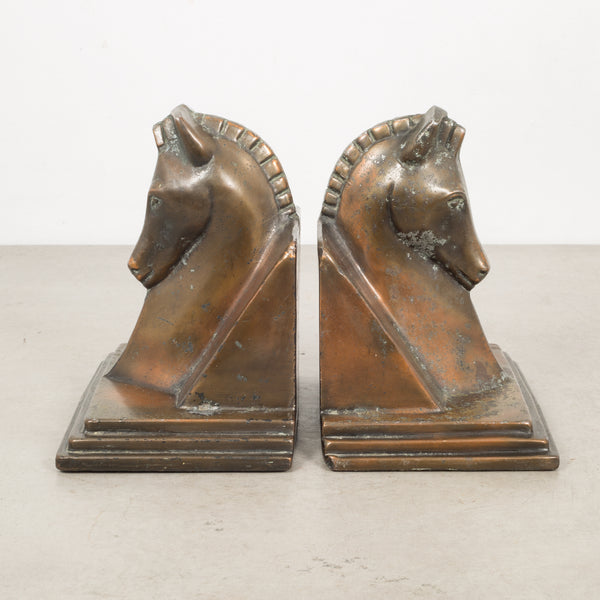 Art Deco Bronze-Plated Horse Buttress Bookends, c.1930