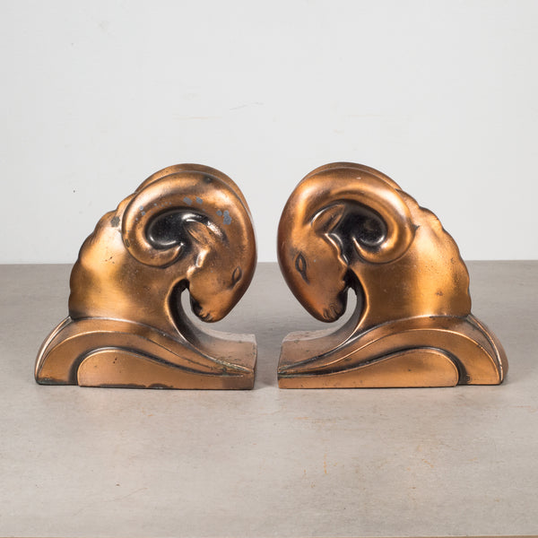 Art Deco Ram's Head Copper Plate Bookends by Cornell Foundry c.1930