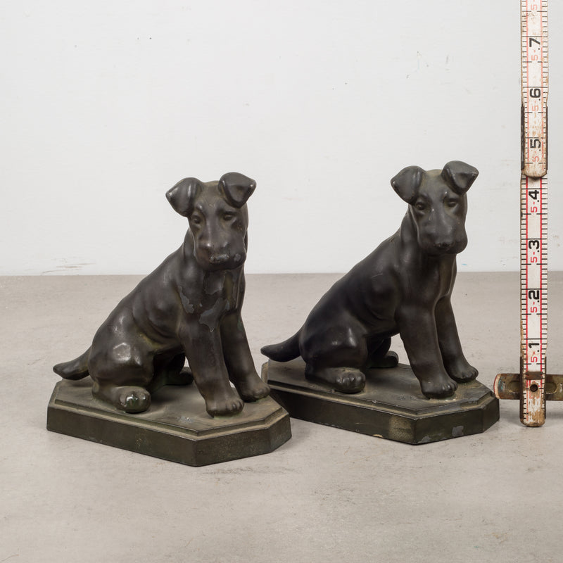 Art Deco Pot Metal Terrier Bookends c.1930