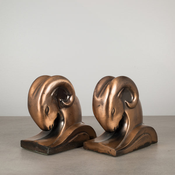 Copper Ram's Head Bookends by Cornell Foundry c.1930