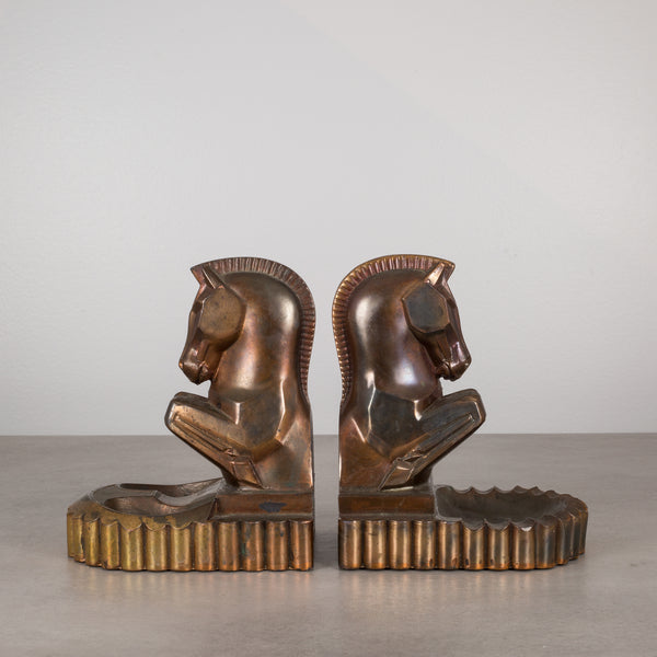 Bronze & Copper Plated Trojan Horse Bookend/Ashtray by Champion Products c.1930