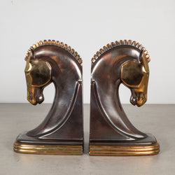 Bronze and Copper Plated Machine Age Trojan Horse Bookends by Dodge Inc. c.1930